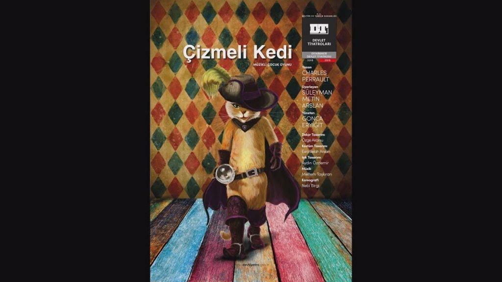 Online Çocuk tiyatrosu çizmeli kedi posteri